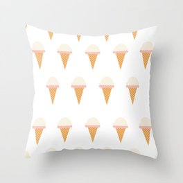 Strawberry and Vanillia Ice-creams Throw Pillow