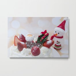 Images Christmas Cakes Winter hat Snowman Strawber Metal Print