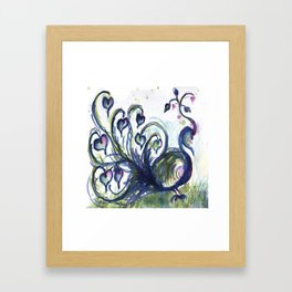 Pink Hearted Peacock watercolor by CheyAnne Sexton Framed Art Print