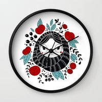 carpe diem Wall Clocks featuring Carpe diem by martuka