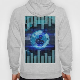 Clef on blue technical design Hoody