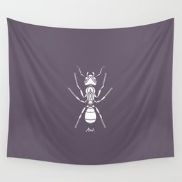 Ant white on Purple Background Wall Tapestry