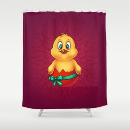 Easter Chicken in Egg Shell 2 - Digital Painting Shower Curtain