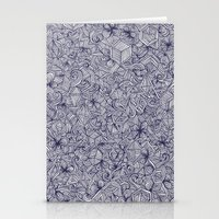 bedding Stationery Cards featuring Held Together - a pattern of navy blue doodles by micklyn