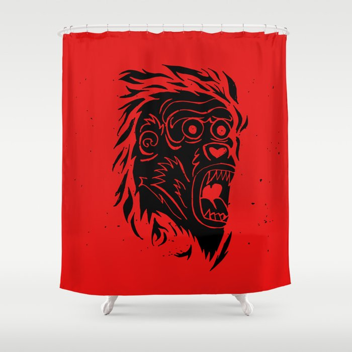 Bloody Monkey Shower Curtain By Yhello