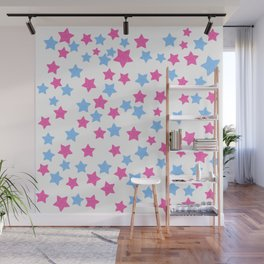 Pink and Blue Stars Wall Mural