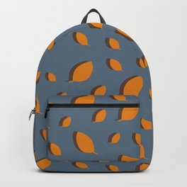 Fall pattern mustard brown leaves on blue Backpack
