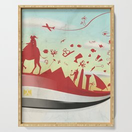 egypt background with flag and symbol Serving Tray