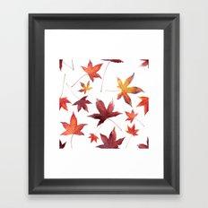 Dead Leaves over White Framed Art Print
