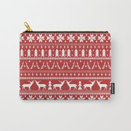 Deer christmas fair isle camping pattern snowflakes minimal winter seasonal holiday gifts Carry-All Pouch