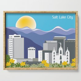 Salt Lake City, Utah - Skyline Illustration by Loose Petals Serving Tray