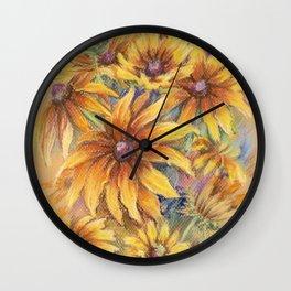 Rudbeckia Bouquet Floral pastel drawing Still life Wall Clock
