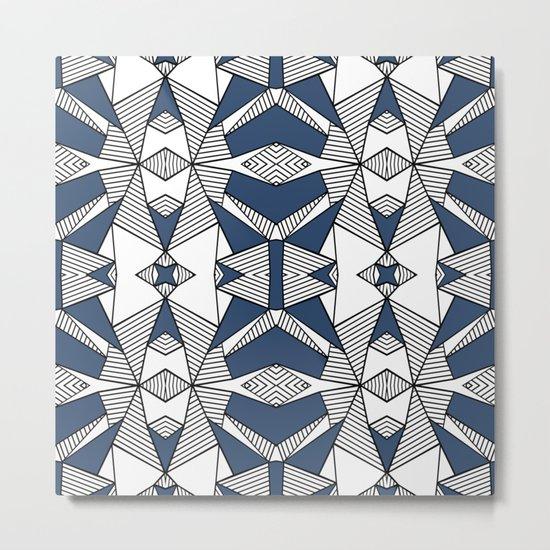 Triangle Tribal #2 Navy Metal Print