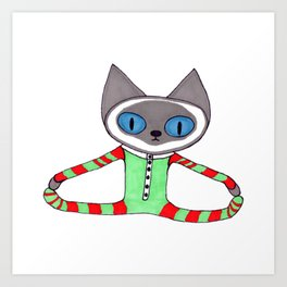 Cute Siamese Cat in his Red and Green Striped Christmas Pajamas Art Print
