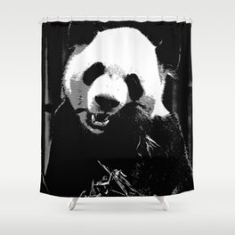 Cute Giant Panda Bear with tasty Bamboo Leaves Shower Curtain
