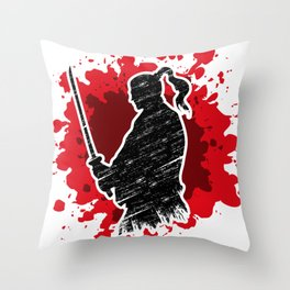 Samurai red Throw Pillow