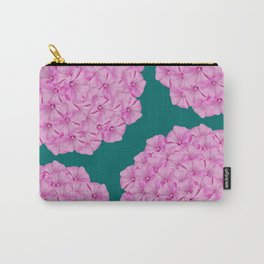 Flowerpower - Pink Flower Balls On A Dark Green Background - #society6 Carry-All Pouch
