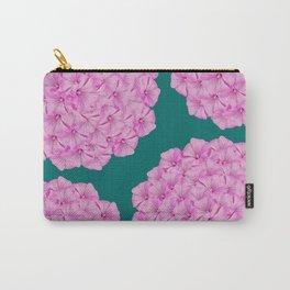 Flowerpower - Pink Flower Balls On A Dark Green Background #decor #society6 #buyart Carry-All Pouch