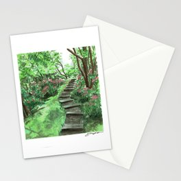 Watercolor Garden Steps Stationery Cards