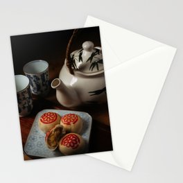 Chinese tea set with pastry Stationery Cards