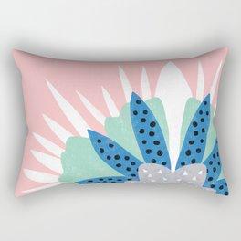 Big flower turquoise & dark blue Rectangular Pillow