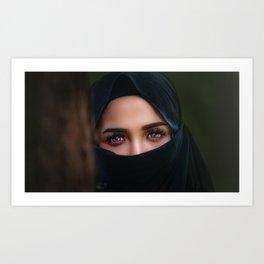 Amazing Beautiful Burka Eyes Female Muslim Hijab Islam Niqab Ultra HD Art Print
