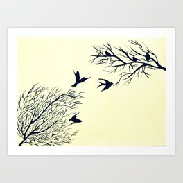Birds At Their Rescue Art Print