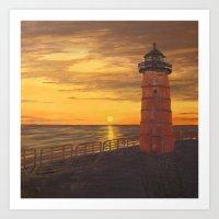 milwaukee Art Prints featuring Milwaukee Lighthouse by Hatton Custom Design