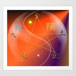 Feng Shui five elements Orange Purple Art Print