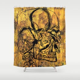 Crushed Skull Drawing Shower Curtain