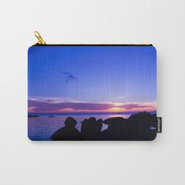 Blue sunset by rock beach Carry-All Pouch