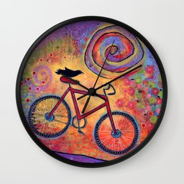 Just Ride and Fly Bicycle and Raven Wall Clock