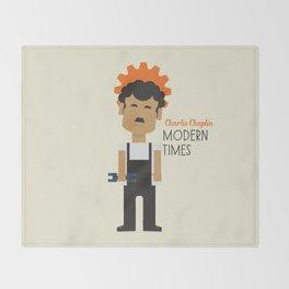 "Charlie Chaplin ""Modern Times"" movie poster, fine Art print, classic film with Paulette Goddard Throw Blanket"