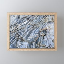"""Details of rock formations in blue and grey"""" for fine art mineral photo print.  Framed Mini Art Print"""