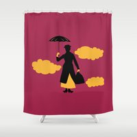 mary poppins Shower Curtains featuring Mary Poppins by FilmsQuiz