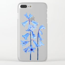 botanical bluebell flowers watercolor Clear iPhone Case