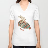 animals V-neck T-shirts featuring cozy chipmunk by Laura Graves