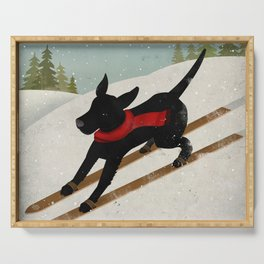 Black Dog Labrador Ski Mountain Serving Tray