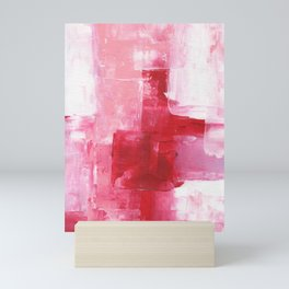 Ejaaz Haniff Abstract Acrylic Palette Knife Painting Red Pink Hues: 'Heart Beat' Mini Art Print