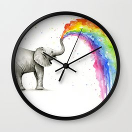 Rainbow Baby Elephant Wall Clock