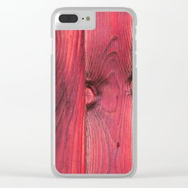 Red Barnwood Clear iPhone Case