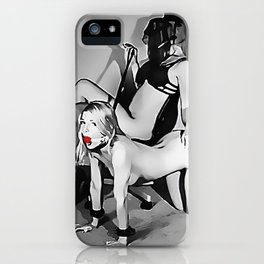 Mistress and her Pet, slave fetish, black and white, girl in BDSM, bondage pose ball gagged iPhone Case