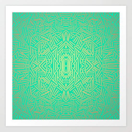 Radiate (Yellow/Ochre Teal- non metallic) Art Print