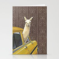 poster Stationery Cards featuring Taxi Llama by Jason Ratliff