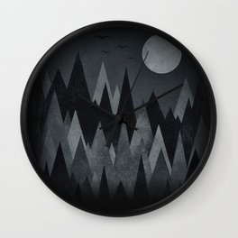Dark Mystery Abstract Geometric Triangle Peak Wood's (black & white) Wall Clock