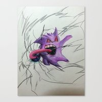 gengar Canvas Prints featuring Gengar by EzraTheMad