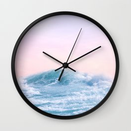 Pink Sunset Blue Wave Paradise Wall Clock