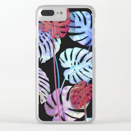 Color tropical Leaves in dark Clear iPhone Case