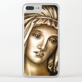 Madonna, pictorial painted stained glass window Clear iPhone Case