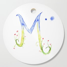 Letter M watercolor - Watercolor Monogram - Watercolor typography - Floral lettering Cutting Board